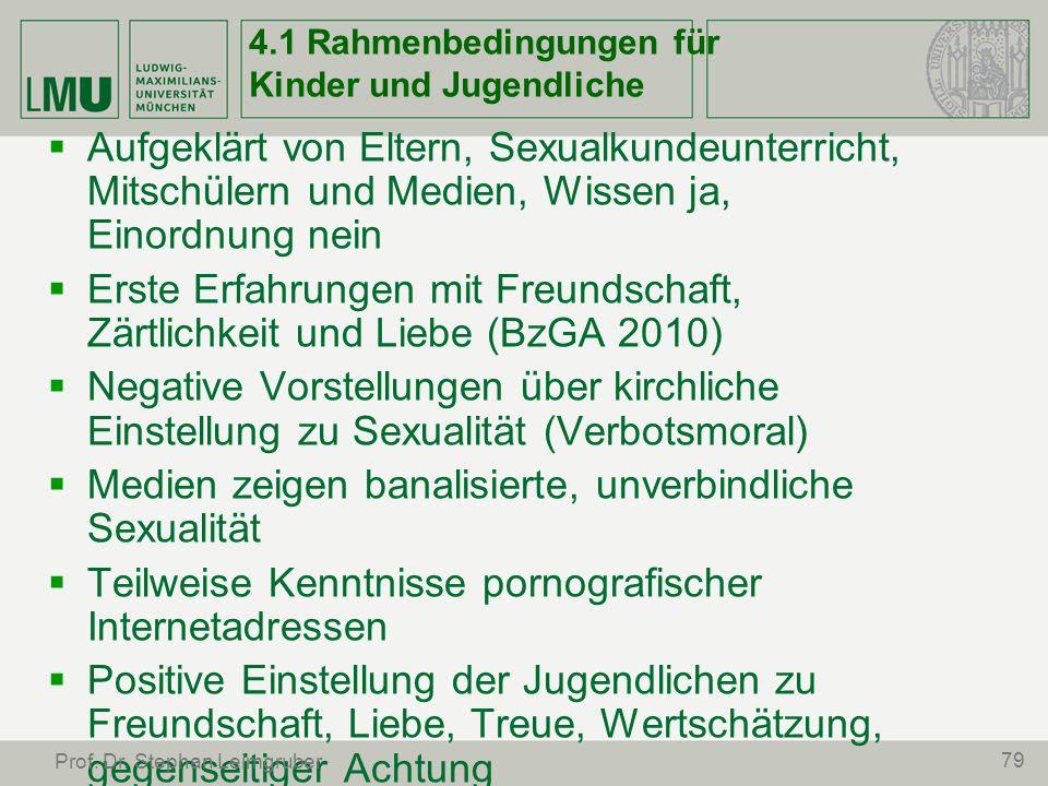 4.1 Rahmenbedingungen für Kinder und Jugendliche Aufgeklärt von Eltern, Sexualkundeunterricht, Mitschülern und Medien, Wissen ja, Einordnung nein Erst