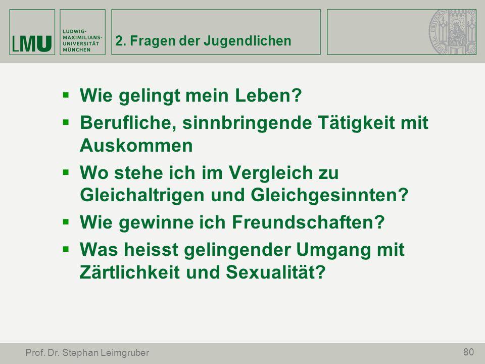 80 Prof. Dr. Stephan Leimgruber 2. Fragen der Jugendlichen Wie gelingt mein Leben? Berufliche, sinnbringende Tätigkeit mit Auskommen Wo stehe ich im V