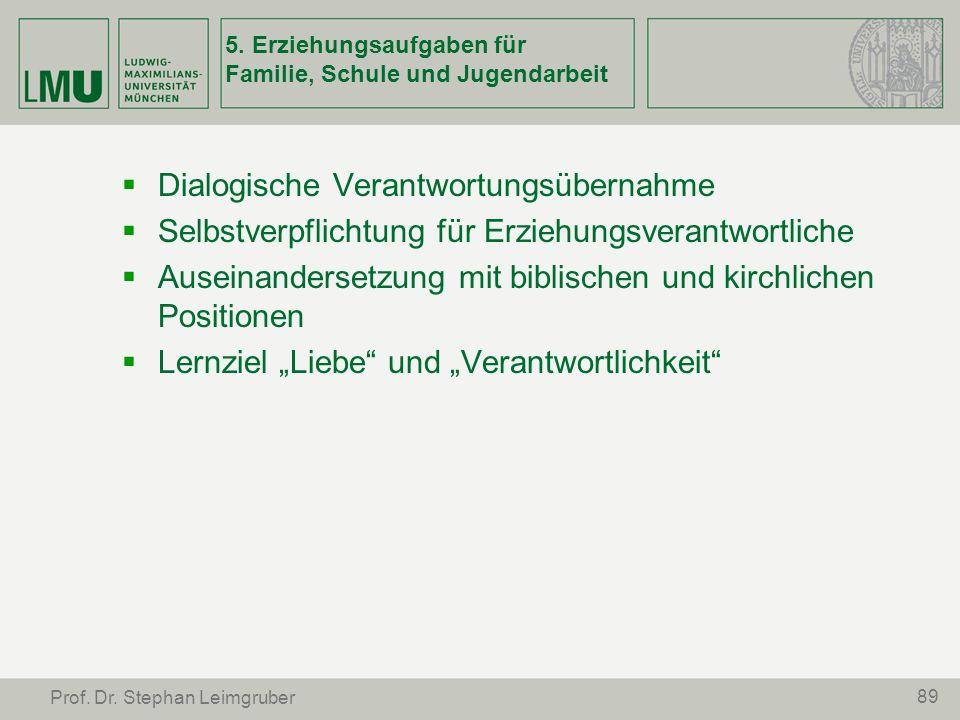 89 Prof. Dr. Stephan Leimgruber 5. Erziehungsaufgaben für Familie, Schule und Jugendarbeit Dialogische Verantwortungsübernahme Selbstverpflichtung für