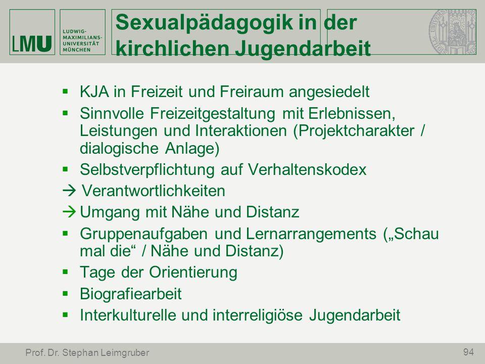 94 Prof. Dr. Stephan Leimgruber Sexualpädagogik in der kirchlichen Jugendarbeit KJA in Freizeit und Freiraum angesiedelt Sinnvolle Freizeitgestaltung
