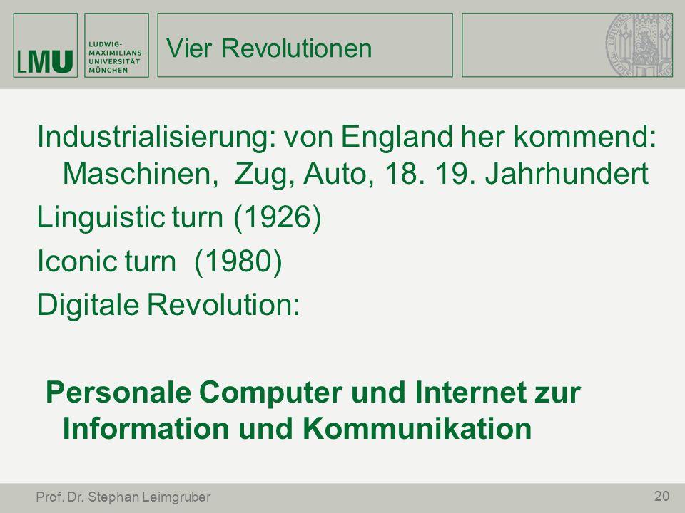 Vier Revolutionen Industrialisierung: von England her kommend: Maschinen, Zug, Auto, 18. 19. Jahrhundert Linguistic turn (1926) Iconic turn (1980) Dig