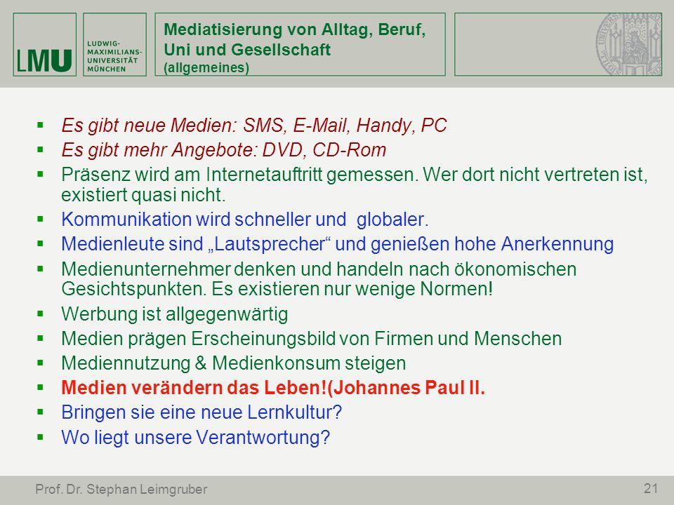 21 Prof. Dr. Stephan Leimgruber Mediatisierung von Alltag, Beruf, Uni und Gesellschaft (allgemeines) Es gibt neue Medien: SMS, E-Mail, Handy, PC Es gi