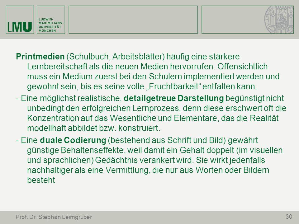 30 Prof. Dr. Stephan Leimgruber Printmedien (Schulbuch, Arbeitsblätter) häufig eine stärkere Lernbereitschaft als die neuen Medien hervorrufen. Offens