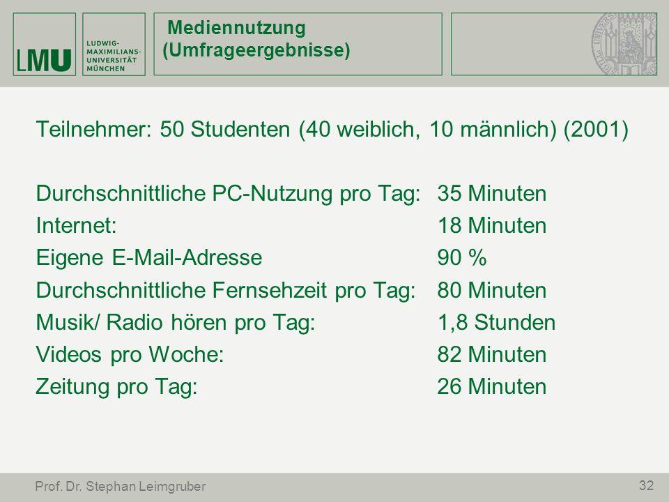 32 Prof. Dr. Stephan Leimgruber Mediennutzung (Umfrageergebnisse) Teilnehmer: 50 Studenten (40 weiblich, 10 männlich) (2001) Durchschnittliche PC-Nutz