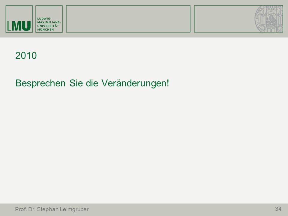 34 Prof. Dr. Stephan Leimgruber 2010 Besprechen Sie die Veränderungen!