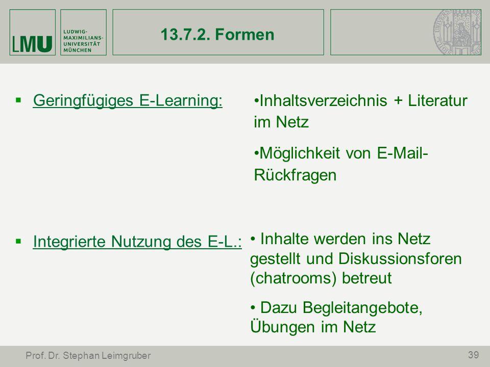 39 Prof. Dr. Stephan Leimgruber 13.7.2. Formen Geringfügiges E-Learning: Integrierte Nutzung des E-L.: Inhaltsverzeichnis + Literatur im Netz Möglichk