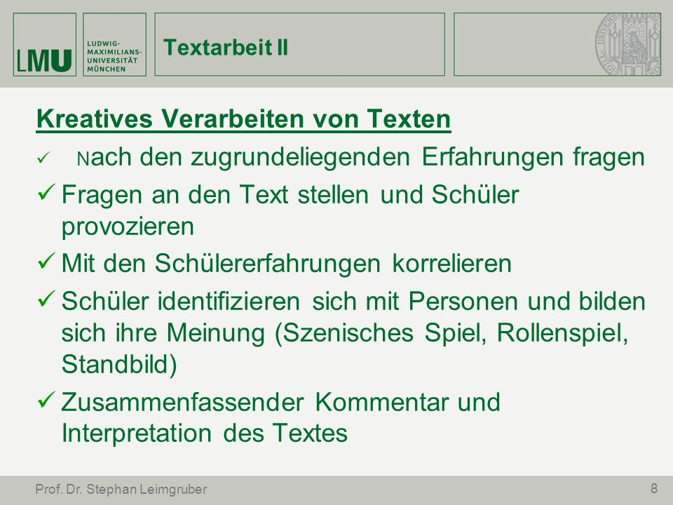 19 Prof.Dr. Stephan Leimgruber Literatur S.Leimgruber, Woran lernen wir.