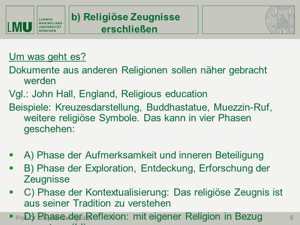 9 Prof. Dr. Stephan Leimgruber b) Religiöse Zeugnisse erschließen Um was geht es? Dokumente aus anderen Religionen sollen näher gebracht werden Vgl.:
