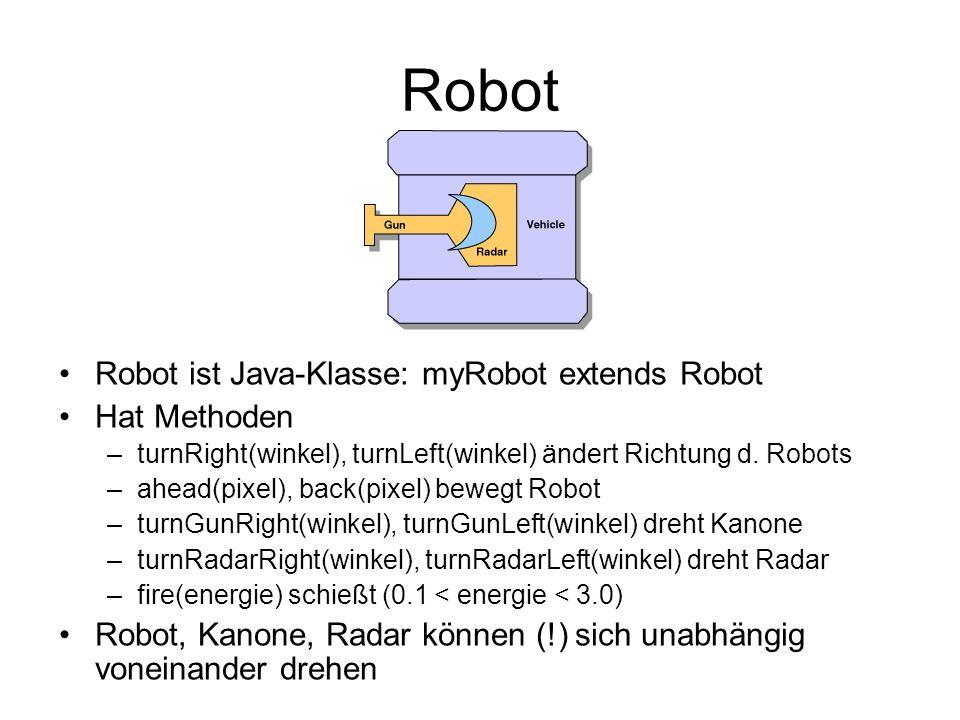 Robot Robot ist Java-Klasse: myRobot extends Robot Hat Methoden –turnRight(winkel), turnLeft(winkel) ändert Richtung d. Robots –ahead(pixel), back(pix