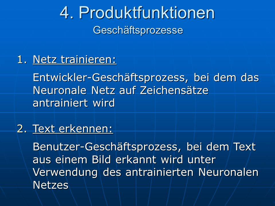 4. Produktfunktionen Geschäftsprozesse 1.Netz trainieren: Entwickler-Geschäftsprozess, bei dem das Neuronale Netz auf Zeichensätze antrainiert wird 2.