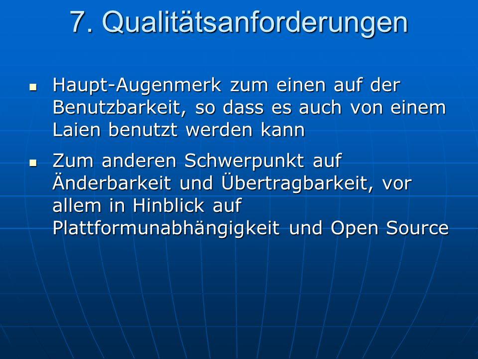Haupt-Augenmerk zum einen auf der Benutzbarkeit, so dass es auch von einem Laien benutzt werden kann Haupt-Augenmerk zum einen auf der Benutzbarkeit, so dass es auch von einem Laien benutzt werden kann Zum anderen Schwerpunkt auf Änderbarkeit und Übertragbarkeit, vor allem in Hinblick auf Plattformunabhängigkeit und Open Source Zum anderen Schwerpunkt auf Änderbarkeit und Übertragbarkeit, vor allem in Hinblick auf Plattformunabhängigkeit und Open Source 7.