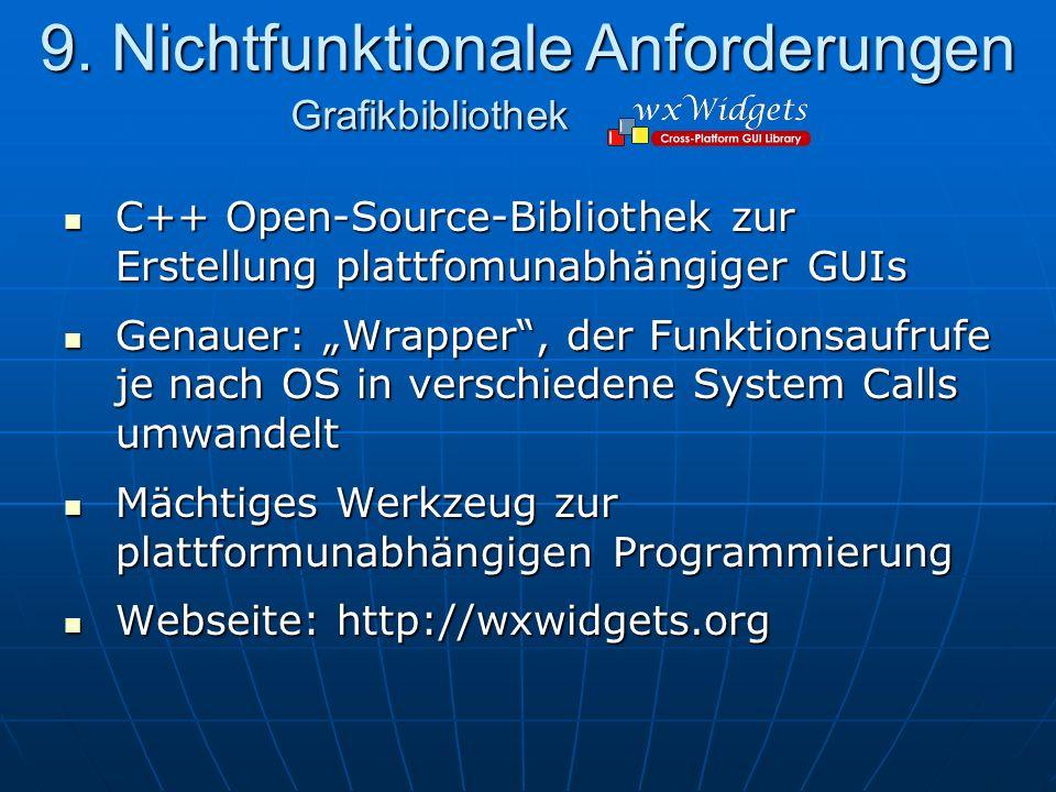 C++ Open-Source-Bibliothek zur Erstellung plattfomunabhängiger GUIs C++ Open-Source-Bibliothek zur Erstellung plattfomunabhängiger GUIs Genauer: Wrapper, der Funktionsaufrufe je nach OS in verschiedene System Calls umwandelt Genauer: Wrapper, der Funktionsaufrufe je nach OS in verschiedene System Calls umwandelt Mächtiges Werkzeug zur plattformunabhängigen Programmierung Mächtiges Werkzeug zur plattformunabhängigen Programmierung Webseite: http://wxwidgets.org Webseite: http://wxwidgets.org 9.