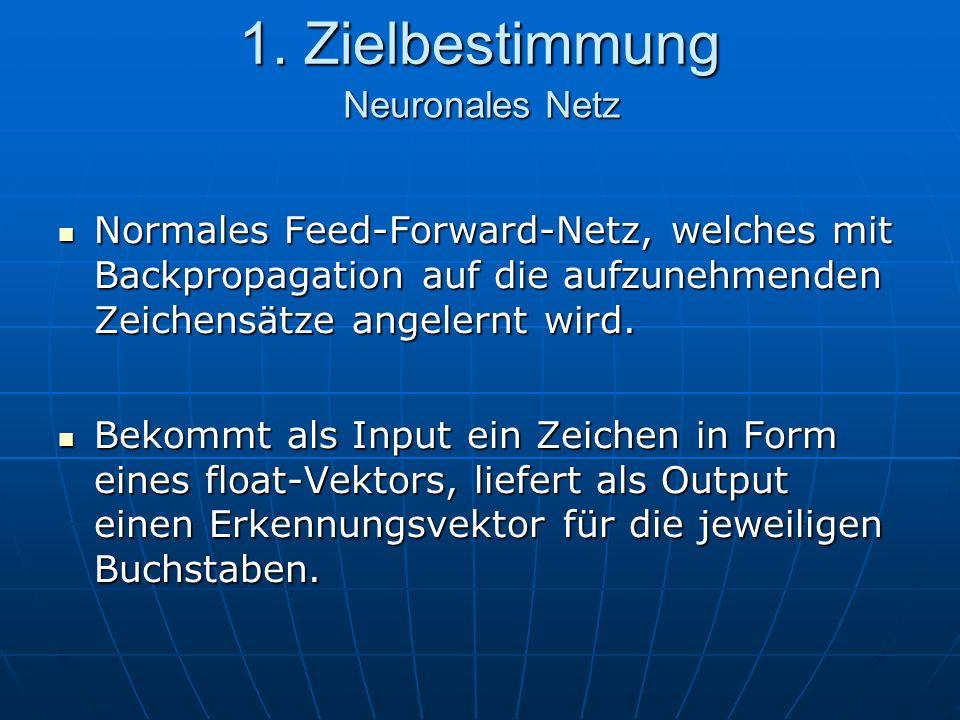 1. Zielbestimmung Normales Feed-Forward-Netz, welches mit Backpropagation auf die aufzunehmenden Zeichensätze angelernt wird. Normales Feed-Forward-Ne