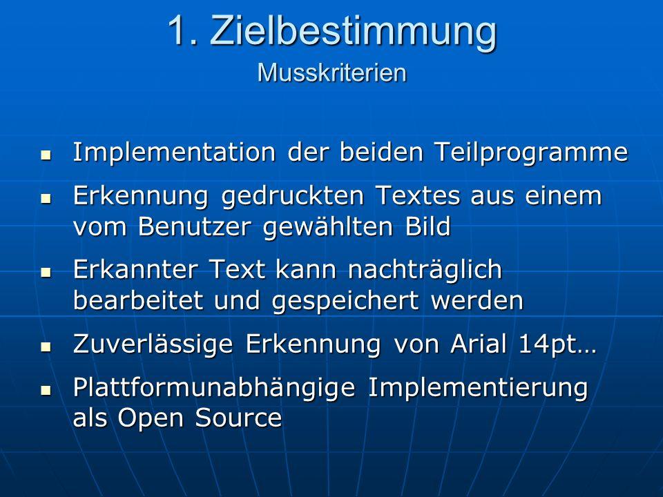 Implementation der beiden Teilprogramme Implementation der beiden Teilprogramme Erkennung gedruckten Textes aus einem vom Benutzer gewählten Bild Erkennung gedruckten Textes aus einem vom Benutzer gewählten Bild Erkannter Text kann nachträglich bearbeitet und gespeichert werden Erkannter Text kann nachträglich bearbeitet und gespeichert werden Zuverlässige Erkennung von Arial 14pt… Zuverlässige Erkennung von Arial 14pt… Plattformunabhängige Implementierung als Open Source Plattformunabhängige Implementierung als Open Source 1.