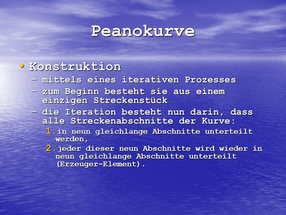 Peanokurve Konstruktion Konstruktion – mittels eines iterativen Prozesses – zum Beginn besteht sie aus einem einzigen Streckenstück – die Iteration be