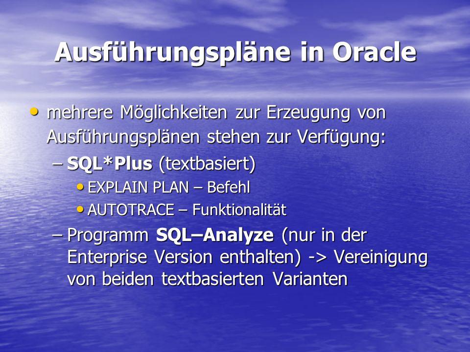 Ausführungspläne in Oracle mehrere Möglichkeiten zur Erzeugung von Ausführungsplänen stehen zur Verfügung: mehrere Möglichkeiten zur Erzeugung von Aus