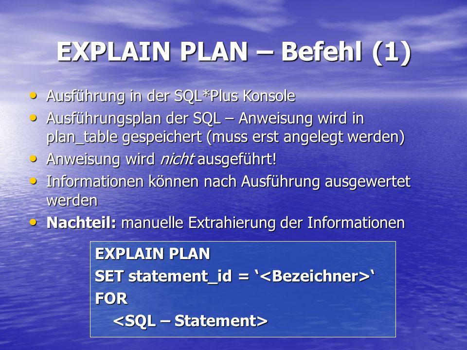 EXPLAIN PLAN – Befehl (1) EXPLAIN PLAN SET statement_id = SET statement_id = FOR Ausführung in der SQL*Plus Konsole Ausführung in der SQL*Plus Konsole