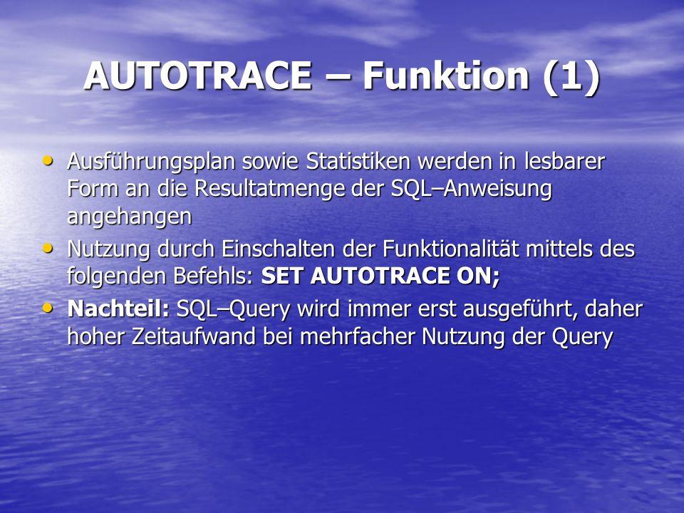 AUTOTRACE – Funktion (1) Ausführungsplan sowie Statistiken werden in lesbarer Form an die Resultatmenge der SQL–Anweisung angehangen Ausführungsplan s
