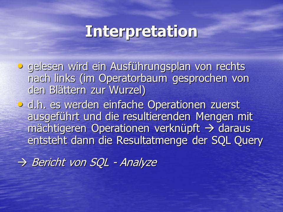 Interpretation gelesen wird ein Ausführungsplan von rechts nach links (im Operatorbaum gesprochen von den Blättern zur Wurzel) gelesen wird ein Ausfüh
