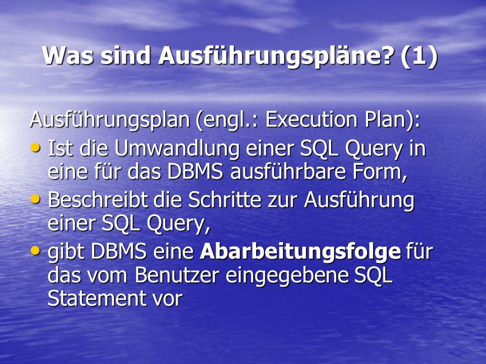 Was sind Ausführungspläne? (1) Ausführungsplan (engl.: Execution Plan): Ist die Umwandlung einer SQL Query in eine für das DBMS ausführbare Form, Ist