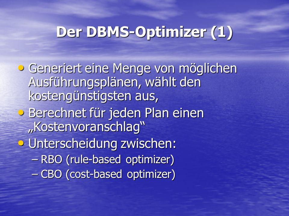 Der DBMS-Optimizer (1) Generiert eine Menge von möglichen Ausführungsplänen, wählt den kostengünstigsten aus, Generiert eine Menge von möglichen Ausfü
