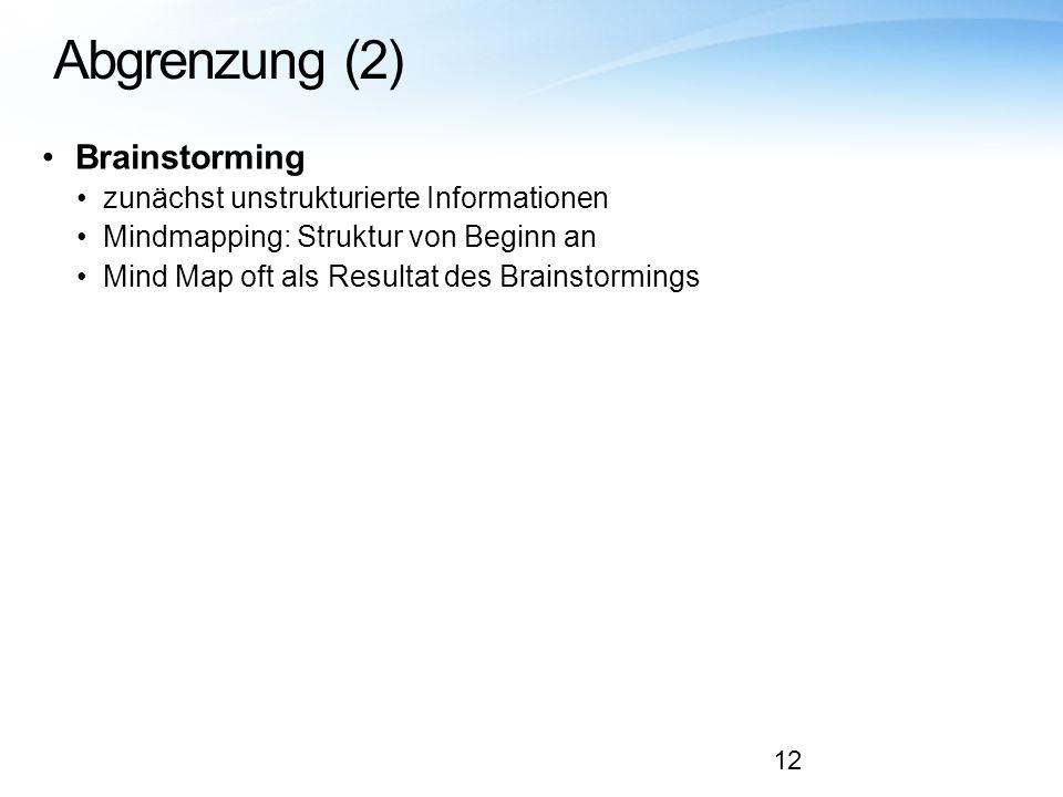 Abgrenzung (2) Brainstorming zunächst unstrukturierte Informationen Mindmapping: Struktur von Beginn an Mind Map oft als Resultat des Brainstormings 1