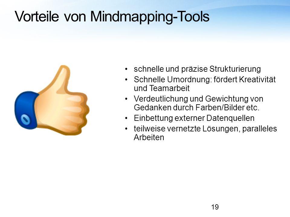 Vorteile von Mindmapping-Tools schnelle und präzise Strukturierung Schnelle Umordnung: fördert Kreativität und Teamarbeit Verdeutlichung und Gewichtun
