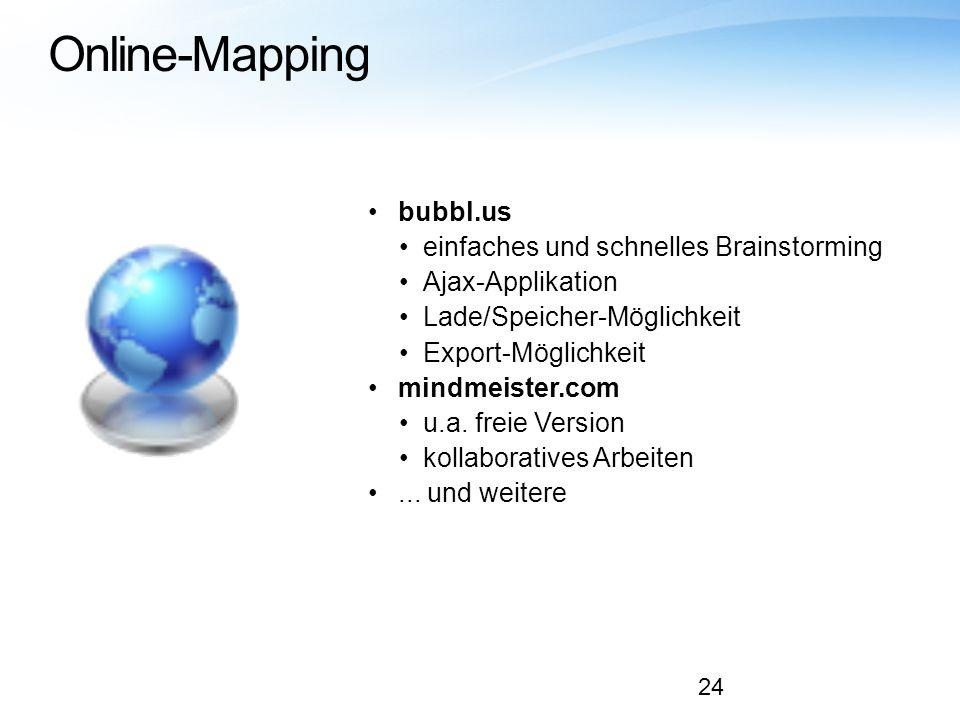 Online-Mapping bubbl.us einfaches und schnelles Brainstorming Ajax-Applikation Lade/Speicher-Möglichkeit Export-Möglichkeit mindmeister.com u.a. freie