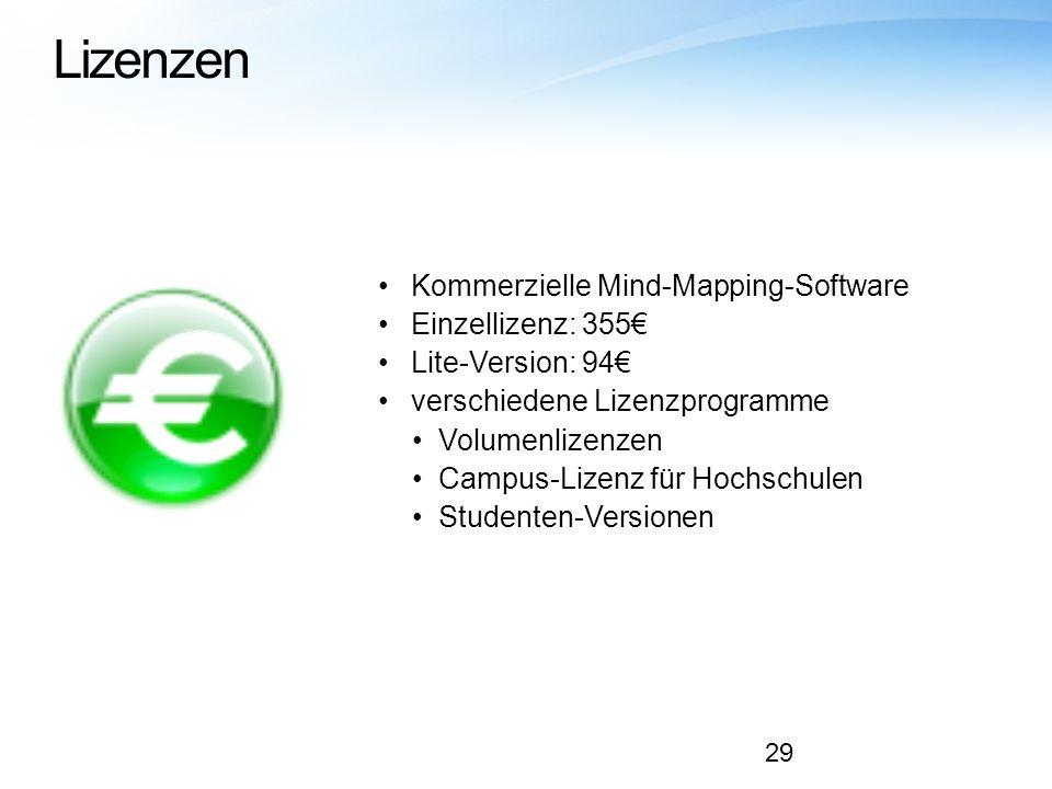 Lizenzen Kommerzielle Mind-Mapping-Software Einzellizenz: 355 Lite-Version: 94 verschiedene Lizenzprogramme Volumenlizenzen Campus-Lizenz für Hochschu