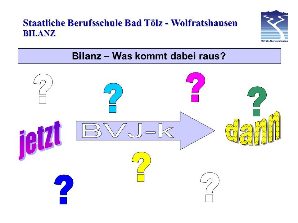 Staatliche Berufsschule Bad Tölz - Wolfratshausen Bilanz – Was kommt dabei raus? BILANZ