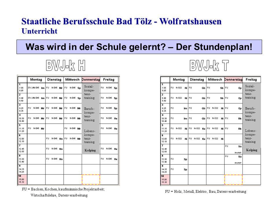 Staatliche Berufsschule Bad Tölz - Wolfratshausen Was wird in der Schule gelernt? – Der Stundenplan! Unterricht Sozial- kompe- tenz- training Berufs-