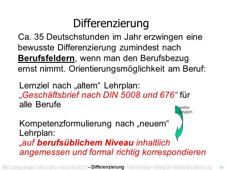 Ca. 35 Deutschstunden im Jahr erzwingen eine bewusste Differenzierung zumindest nach Berufsfeldern, wenn man den Berufsbezug ernst nimmt. Orientierung