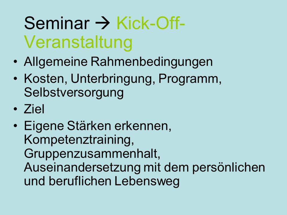 Seminar Kick-Off- Veranstaltung Allgemeine Rahmenbedingungen Kosten, Unterbringung, Programm, Selbstversorgung Ziel Eigene Stärken erkennen, Kompetenztraining, Gruppenzusammenhalt, Auseinandersetzung mit dem persönlichen und beruflichen Lebensweg
