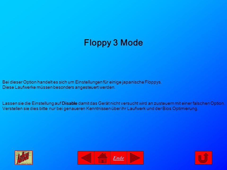 Ende Floppy 3 Mode Bei dieser Option handelt es sich um Einstellungen für einige japanische Floppys. Diese Laufwerke müssen besonders angesteuert werd