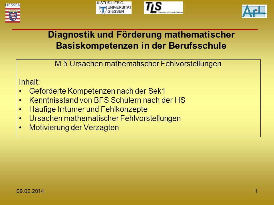 M 5 Ursachen mathematischer Fehlvorstellungen Inhalt: Geforderte Kompetenzen nach der Sek1 Kenntnisstand von BFS Schülern nach der HS Häufige Irrtümer