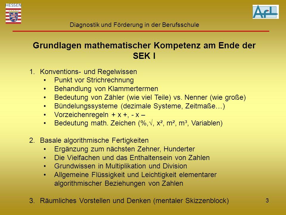 Diagnostik und Förderung in der Berufsschule Grundlagen mathematischer Kompetenz am Ende der SEK I 1.Konventions- und Regelwissen Punkt vor Strichrech