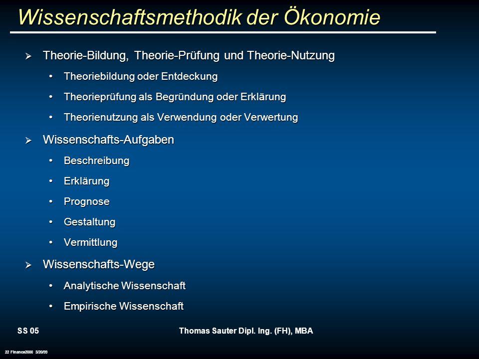 SS 05Thomas Sauter Dipl. Ing. (FH), MBA 22 Finance2000 3/20/99 Wissenschaftsmethodik der Ökonomie Theorie-Bildung, Theorie-Prüfung und Theorie-Nutzung
