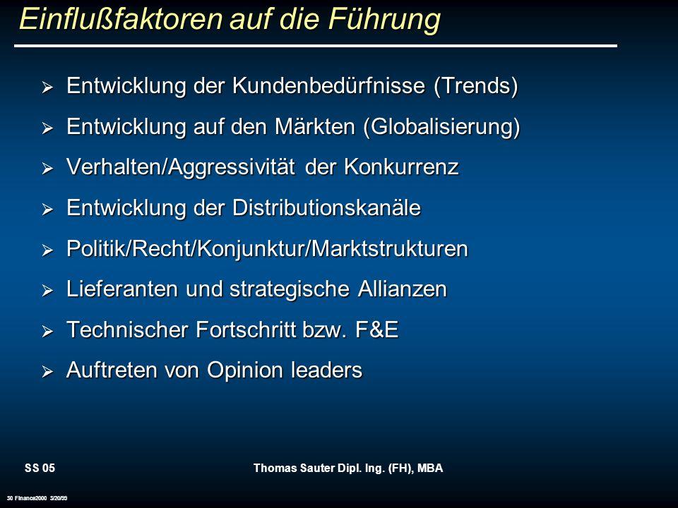 SS 05Thomas Sauter Dipl. Ing. (FH), MBA 30 Finance2000 3/20/99 Einflußfaktoren auf die Führung Entwicklung der Kundenbedürfnisse (Trends) Entwicklung