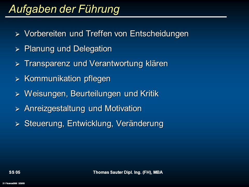 SS 05Thomas Sauter Dipl. Ing. (FH), MBA 31 Finance2000 3/20/99 Aufgaben der Führung Vorbereiten und Treffen von Entscheidungen Vorbereiten und Treffen