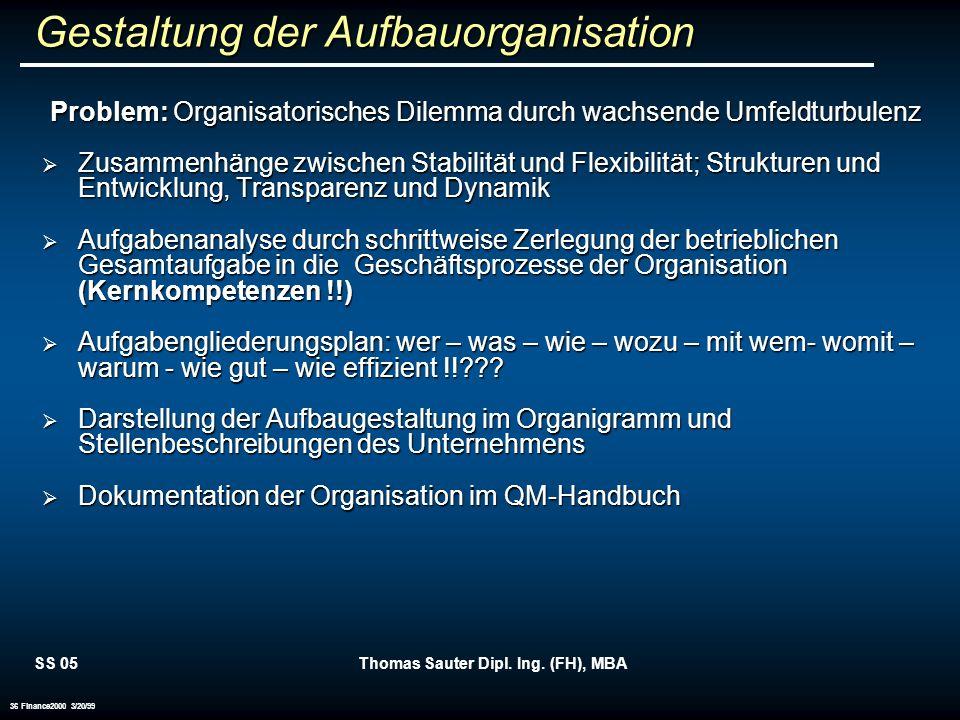SS 05Thomas Sauter Dipl. Ing. (FH), MBA 36 Finance2000 3/20/99 Gestaltung der Aufbauorganisation Problem: Organisatorisches Dilemma durch wachsende Um