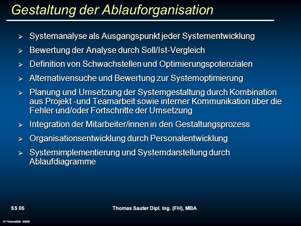SS 05Thomas Sauter Dipl. Ing. (FH), MBA 37 Finance2000 3/20/99 Gestaltung der Ablauforganisation Systemanalyse als Ausgangspunkt jeder Systementwicklu