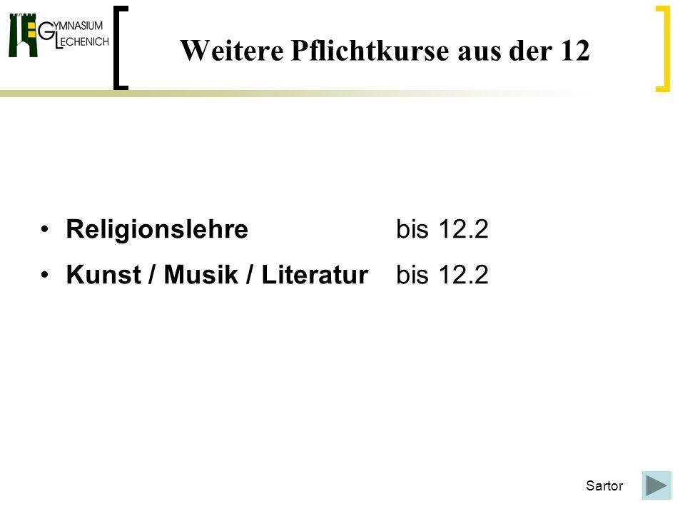 Weitere Pflichtkurse aus der 12 Religionslehre bis 12.2 Kunst / Musik / Literatur bis 12.2 Sartor