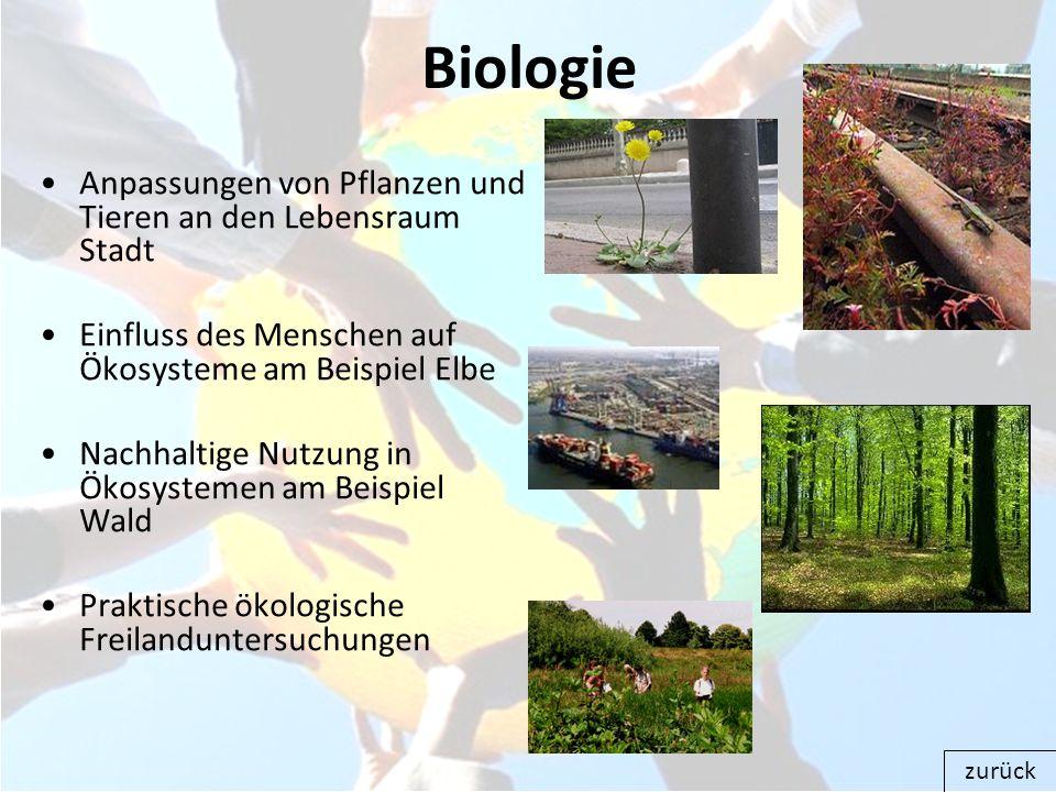 Biologie Anpassungen von Pflanzen und Tieren an den Lebensraum Stadt Einfluss des Menschen auf Ökosysteme am Beispiel Elbe Nachhaltige Nutzung in Ökos