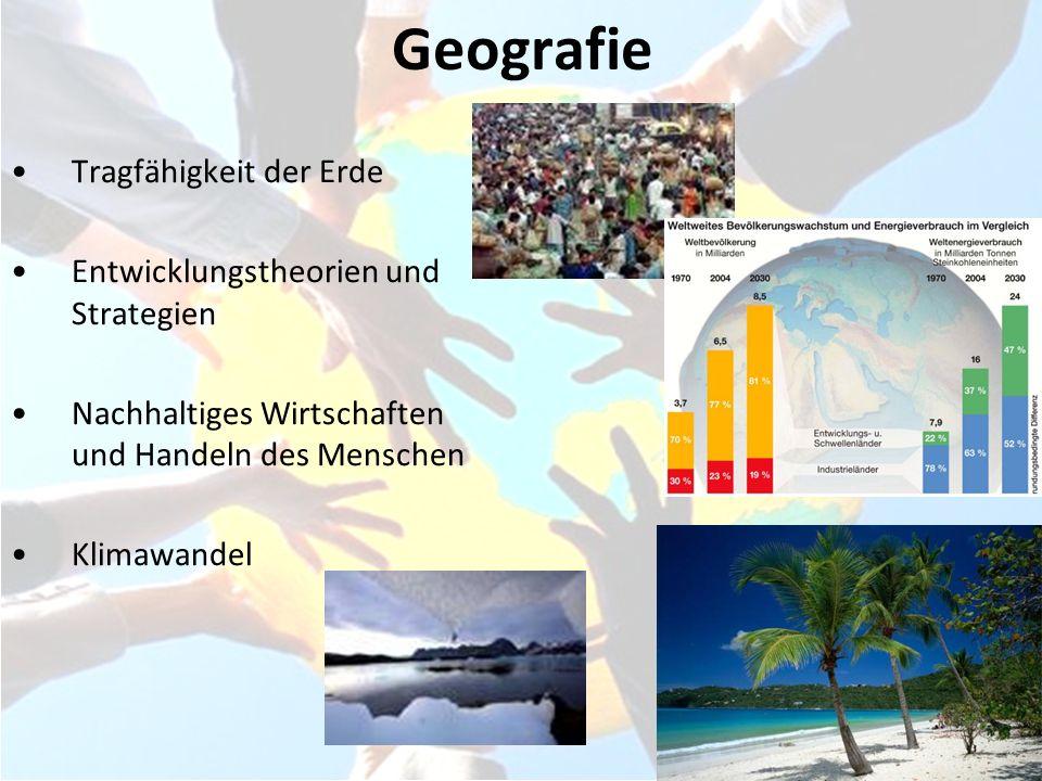 Geografie Tragfähigkeit der Erde Entwicklungstheorien und Strategien Nachhaltiges Wirtschaften und Handeln des Menschen Klimawandel