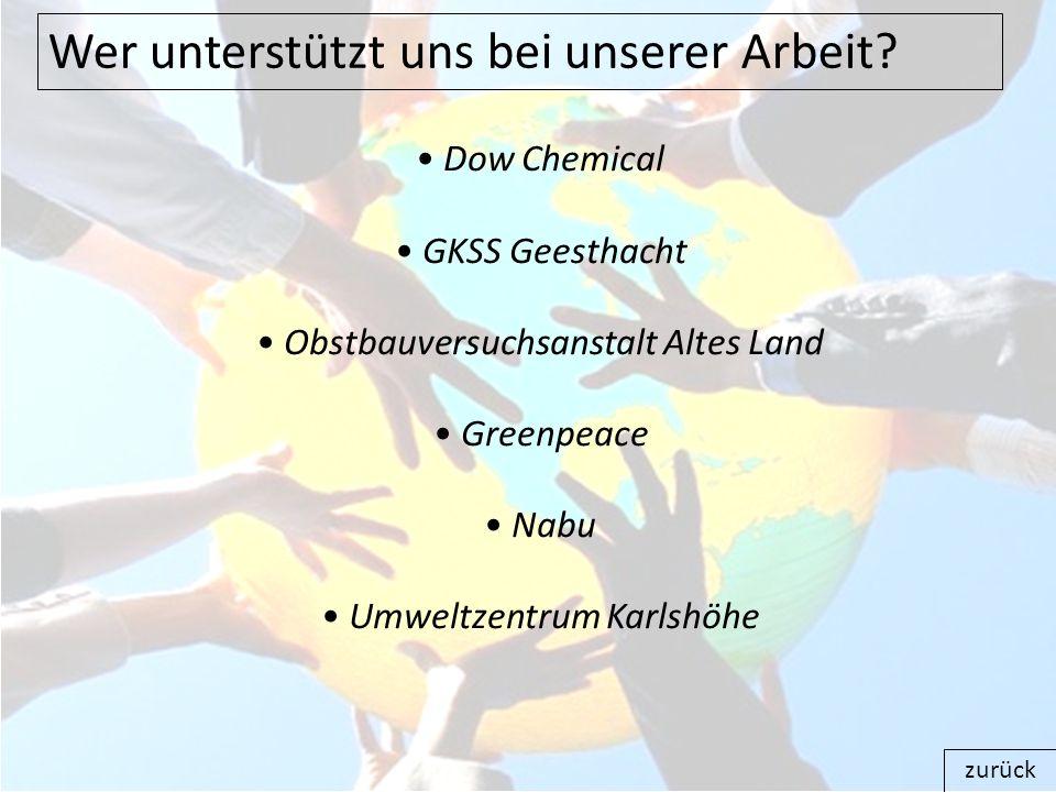 Wer unterstützt uns bei unserer Arbeit? Dow Chemical GKSS Geesthacht Obstbauversuchsanstalt Altes Land Greenpeace Nabu Umweltzentrum Karlshöhe zurück