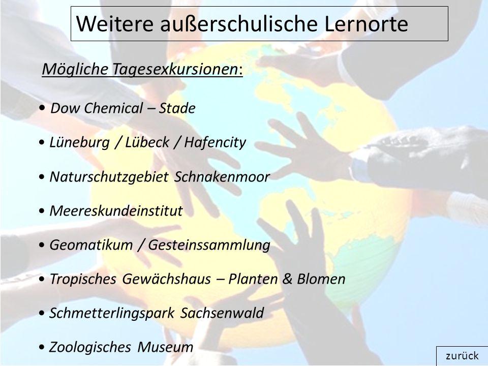 Mögliche Tagesexkursionen: Dow Chemical – Stade Lüneburg / Lübeck / Hafencity Naturschutzgebiet Schnakenmoor Meereskundeinstitut Geomatikum / Gesteins