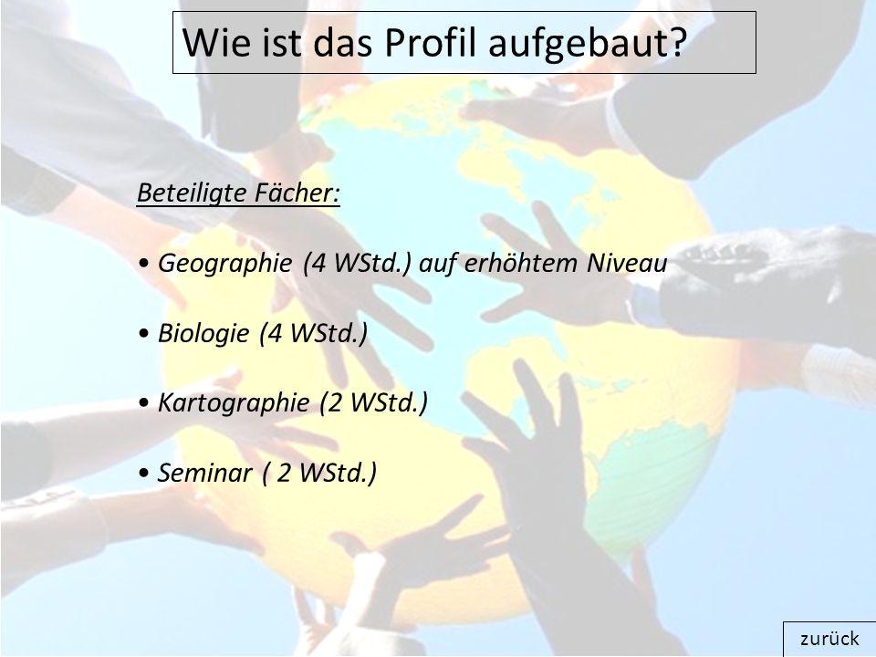 Wie ist das Profil aufgebaut? zurück Beteiligte Fächer: Geographie (4 WStd.) auf erhöhtem Niveau Biologie (4 WStd.) Kartographie (2 WStd.) Seminar ( 2