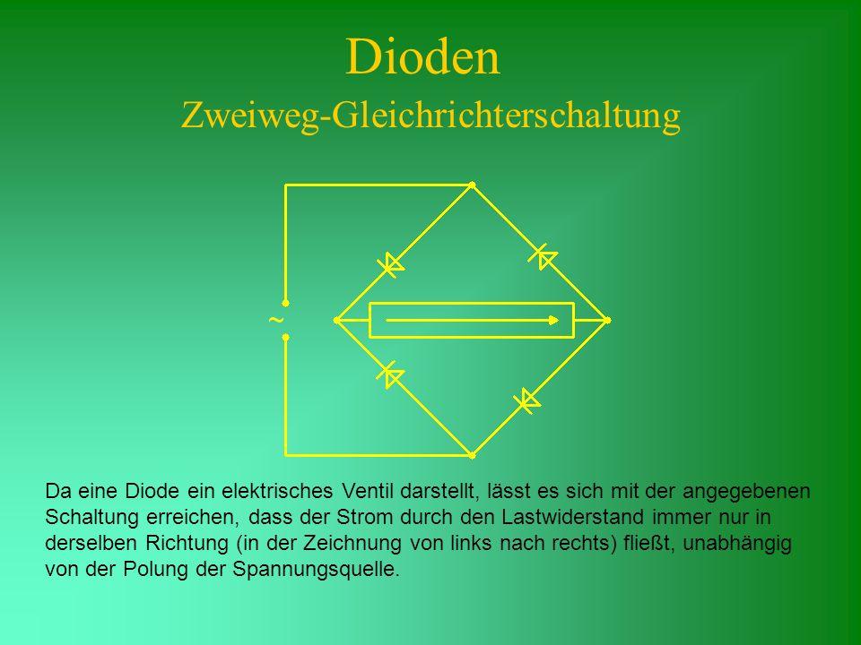 Dioden Zweiweg-Gleichrichterschaltung Da eine Diode ein elektrisches Ventil darstellt, lässt es sich mit der angegebenen Schaltung erreichen, dass der