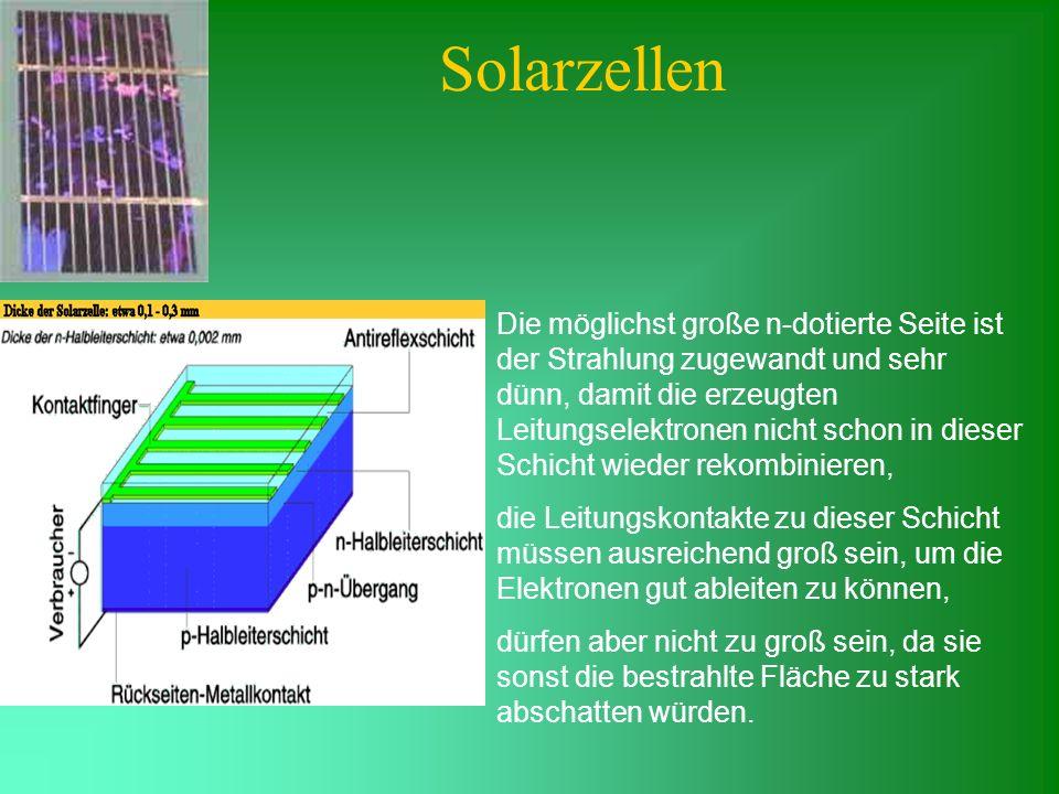 Solarzellen Die möglichst große n-dotierte Seite ist der Strahlung zugewandt und sehr dünn, damit die erzeugten Leitungselektronen nicht schon in dies