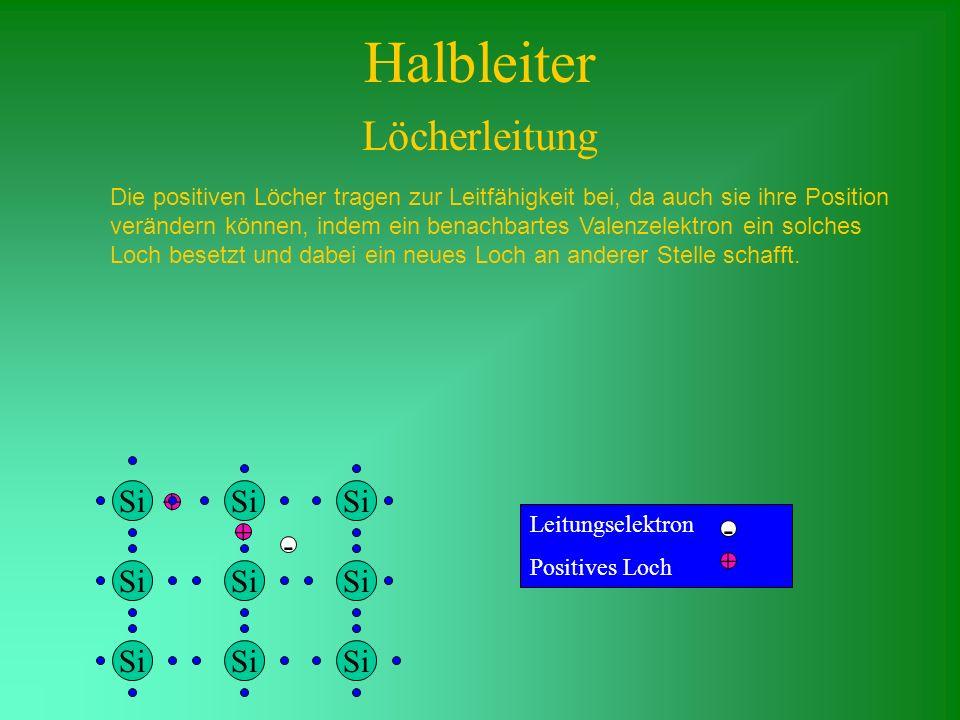 + Die positiven Löcher tragen zur Leitfähigkeit bei, da auch sie ihre Position verändern können, indem ein benachbartes Valenzelektron ein solches Loc
